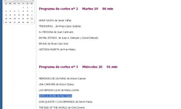 Ante la araña Sección Oficial de I CONCURSO DE CORTOS DE FICCIÓN Luis Buñuel