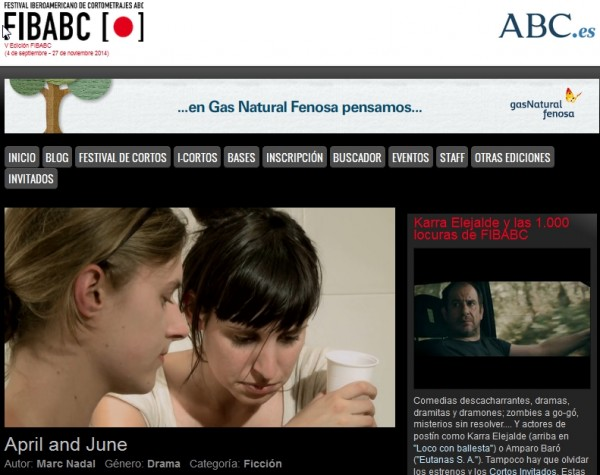 """""""April and June"""" Sección Oficial de la V edición del Festival Internacional FIBABC"""