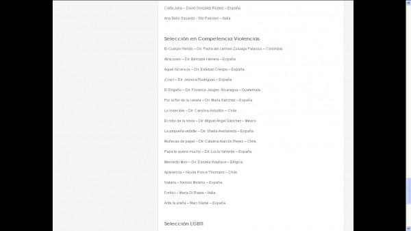 Sección oficial del V Cine En Femenino (Colombia).