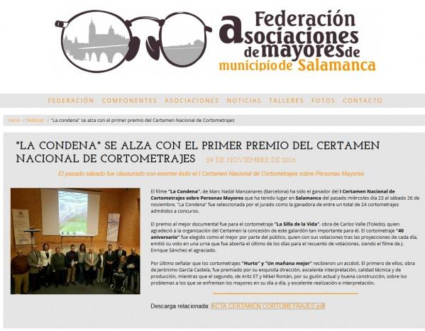Primer Premio del I Certamen de Cortometrajes sobre Personas Mayores (España).