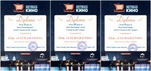 """""""Ciudadanos"""" Gana 3 Premios en el Festival Internacional """"Kinomania na Velikoy"""" Youth Short Film Festival (Rusia)."""