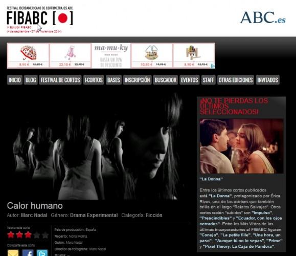 """""""Calor humano"""" Sección Oficial de la V edición del Festival Internacional FIBABC."""