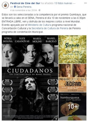 Sección Oficial del 14º Festival de Cine del Sur (Colombia).