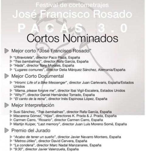 """Festival de Cortometrajes """"José Francisco Rosado"""" Pacas 3.0"""