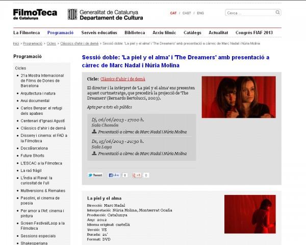 Filmoteca de Catalunya proyecata La piel y el alma y The Dreamers
