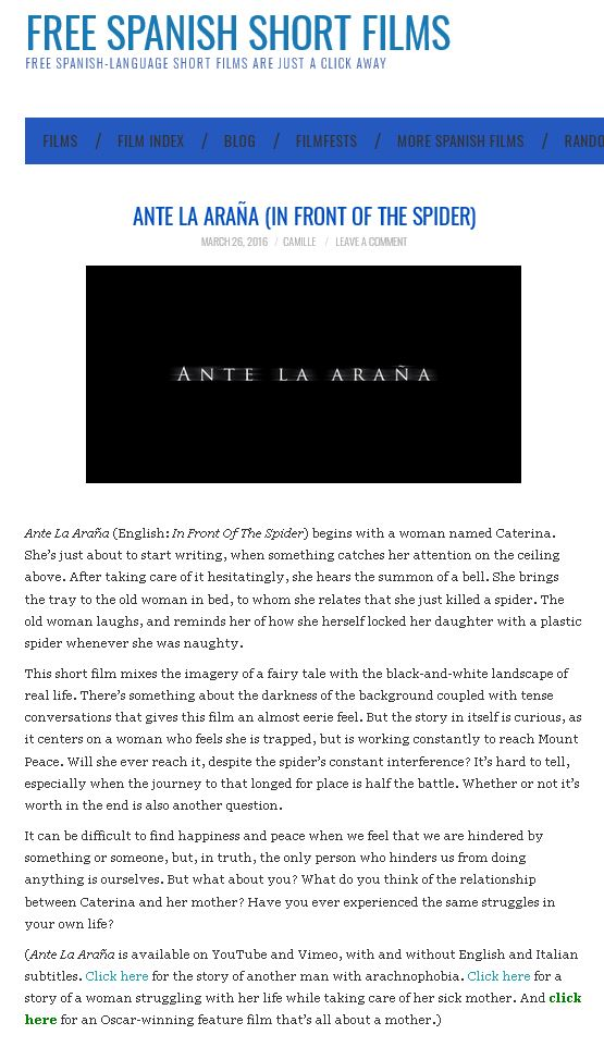 Free Spanish Short Films about Ante la araña