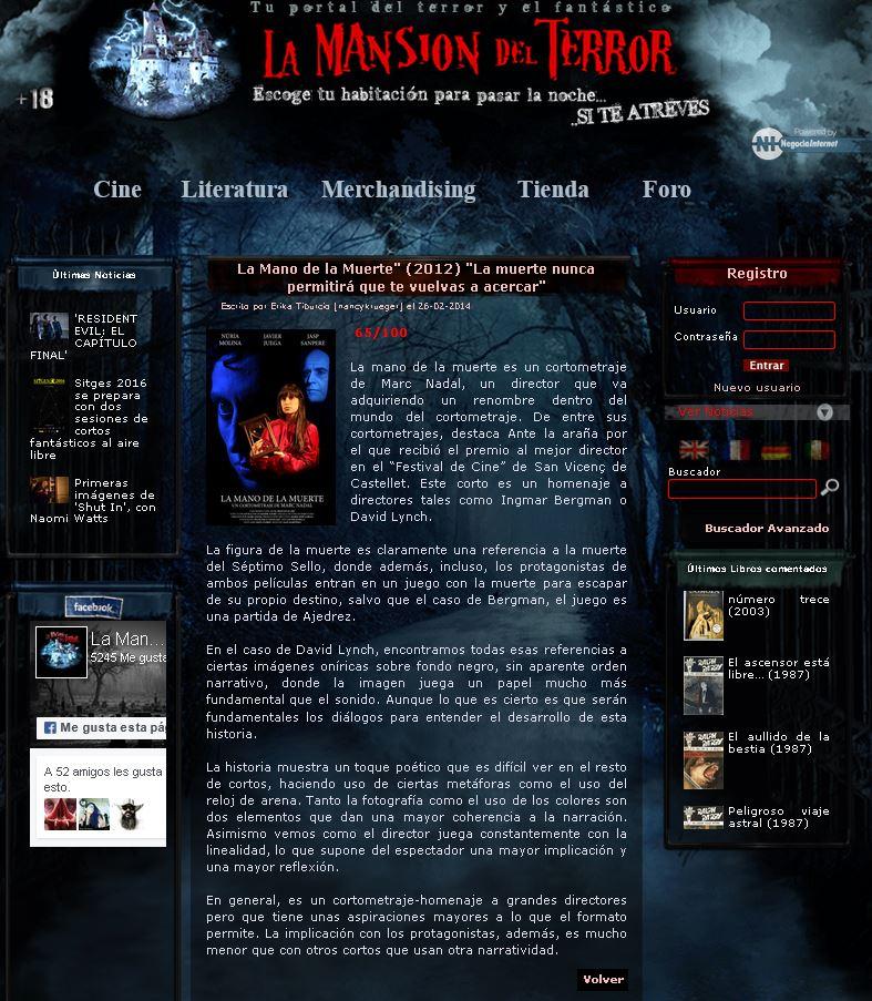 La Mansion del Terror Analisis La mano de la muerte