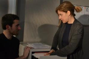 """Maria Molins y Marc Nadal durante el rodaje de """"Ciudadanos""""."""
