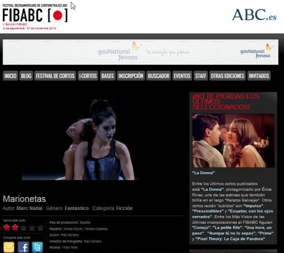 """""""Marionetas"""" Sección Oficial de la V edición del Festival Internacional FIBABC."""