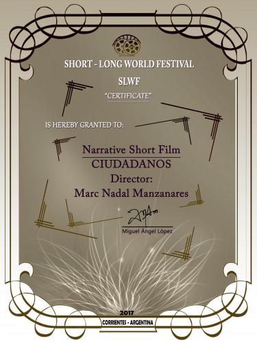 Ciudadanos Premio Mejor Cortometraje Narrativo