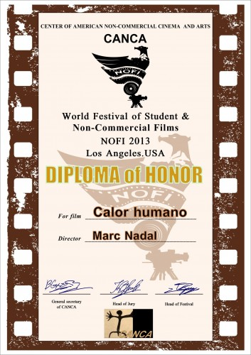 NOFI World Festival of Student & Non-commercial Films Calor Humano Marc Nadal