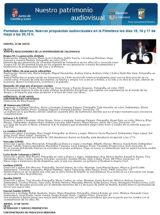 Pantallas Abiertas. Nuevas propuestas audiovisuales en la Filmoteca