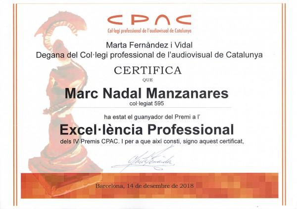 Premio a l'Excel·lència Professional dels IV Premis CPAC Marc Nadal