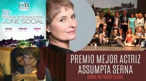 """""""Donde no puedes llegar"""" Premio Mejor Interpretación Femenina: Assumpta Serna, en el XVI Festival Internacional de Cine Social de Castilla La Mancha (FECISO)."""