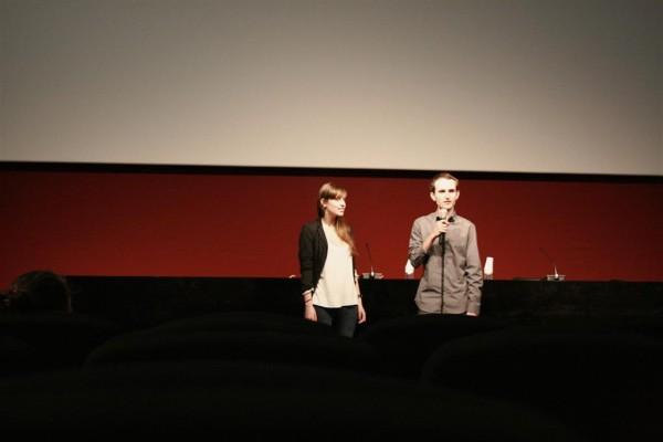 Núria Molina y Marc Nadal presentando La piel y el alma en La Filmoteca de Catalunya