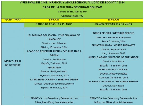 """Seccion Oficial del V Festival de Cine Infancia y Adolescencia """"Ciudad de Bogotá"""" (Colombia)."""