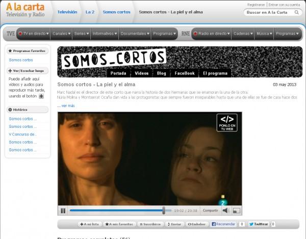 La piel y el alma en Somos Cortos de Televisión Española