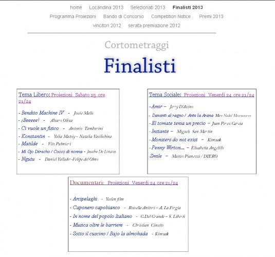 Ante la araña, finalista II Tracce Cinematografiche Film Festival