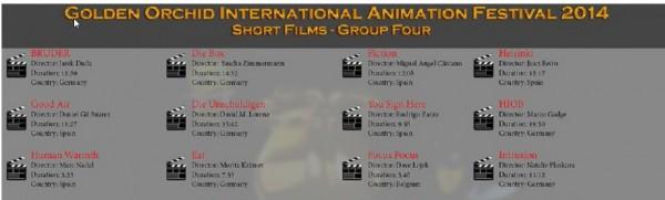 The Golden Orchid International Animation Festival 2014 Programe